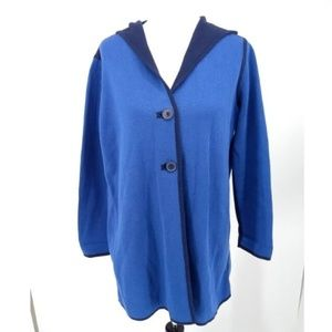 Chicos Size 2 Large Cardigan Sweater Blue Button